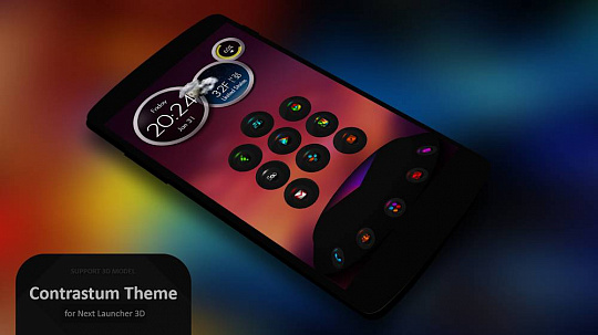 Скриншоты к Next Launcher Theme Contrastum